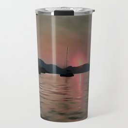 Sunset Shores In Pink And Grey Travel Mug