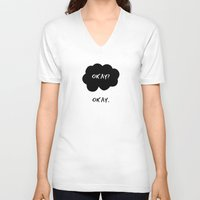 okay V-neck T-shirts featuring Okay by D-fens