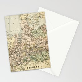 Old and Vintage Map of Germany Outline Stationery Cards