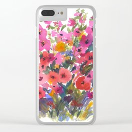 My Red Hollyhocks Clear iPhone Case