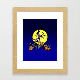 Halloween, witch on a broom, bats and pumpkins Framed Art Print