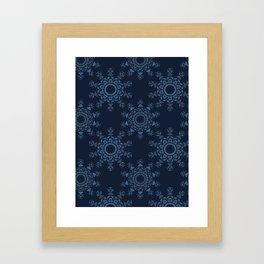Indigo Blue Star Mandala Hand Drawn Framed Art Print