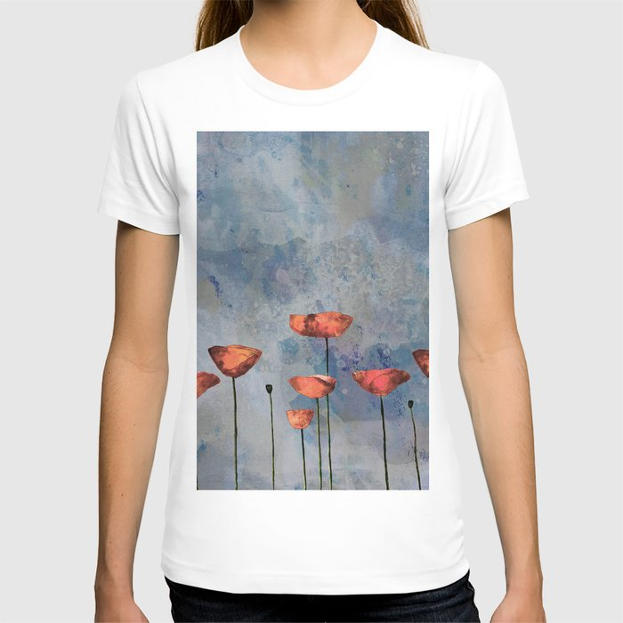 Poppyfield against the blue sky - abstract watercolor artwork T-shirt