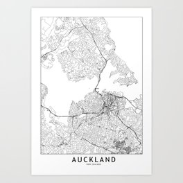 Auckland White Map Art Print