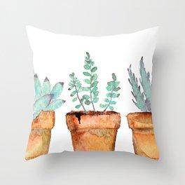 watercolor succulent  Throw Pillow