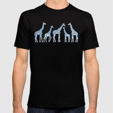 Navy Blue Giraffes on White Mens Fitted Tee Black LARGE