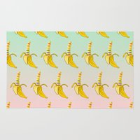 lesbian Area & Throw Rugs featuring Gay Pride Banana  by mailboxdisco