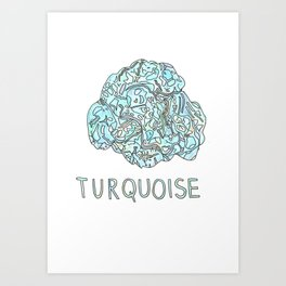 Turquoise Gemstone / December Birthstone Watercolor Painting / Illustration Art Print