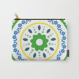 Green suzani inspired floral round placement Carry-All Pouch