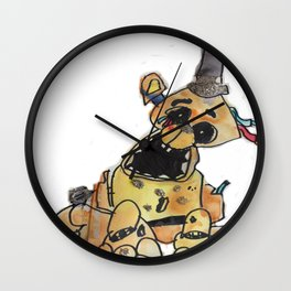Original watercolor of Gold Freddy FNAF inspired Wall Clock