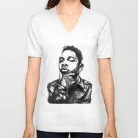 kendrick lamar V-neck T-shirts featuring Kendrick Lamar Lithograph by Drewnelz