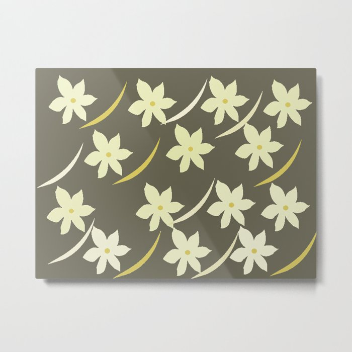 Golden Flower Abstract Metal Print