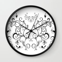 Abstract black floral ornament Wall Clock