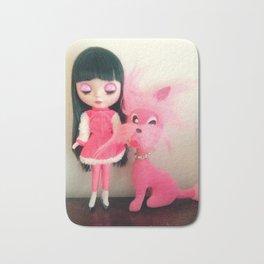 sakura and her pink dog Bath Mat