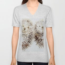 Hedgehog Cuddles Unisex V-Neck
