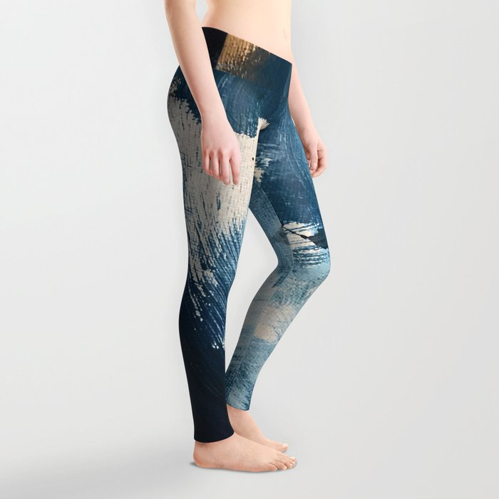 Against the Current: A bold, minimal abstract acrylic piece in blue, white and gold Leggings