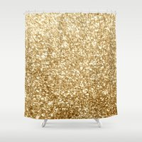 gold glitter Shower Curtains featuring Gold glitter by Masanori Kai
