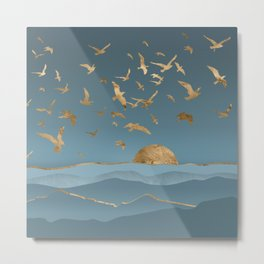Blueprint and Gold Sea Scape Metal Print