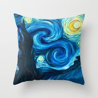 starry night Throw Pillows featuring Starry Starry Night by Jade Cohen