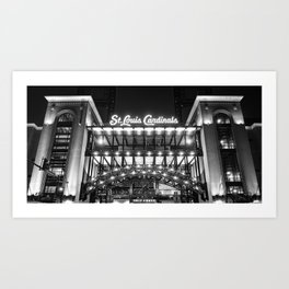 Busch Stadium and St Louis Baseball Panorama in Black and White Art Print