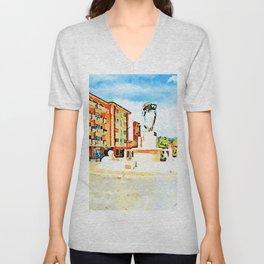 L'Aquila: fountain and orange building Unisex V-Neck