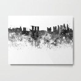 Singapore skyline in black watercolor Metal Print