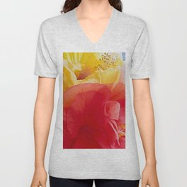 Hibiscus happiness in chiffon Unisex V-Neck