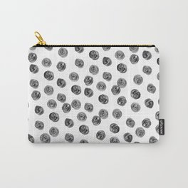 Hand painted black white watercolor brushstrokes polka dots Carry-All Pouch
