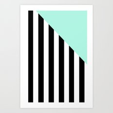 Triangle Stripes (Mint) Art Print