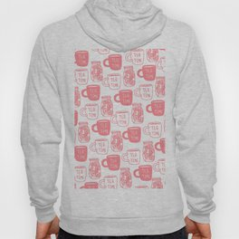 Abstract coral white tea cups modern typography Hoody