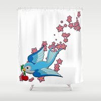 swallow Shower Curtains featuring Blue Swallow by Jelly Roger