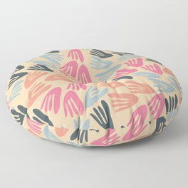 Papier Découpé Modern Abstract Cutout Pattern in Bright Pink, Steel Blue, and Apricot Cream Floor Pillow