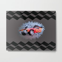 Hot Wheels Car Crashing Through a Wall Metal Print