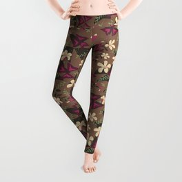Purple Shamrock Floral Layered Pattern / Brown Leggings