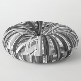 Black and White Abstract Stripe Design 706 Floor Pillow