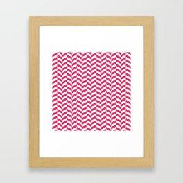 Cerise Red Herringbone Pattern Framed Art Print