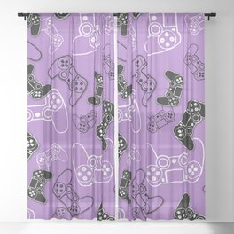 Video Games Lavender Sheer Curtain