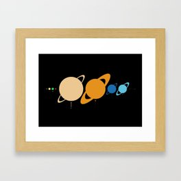 Planets And Moons To Scale Framed Art Print