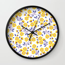 Floral pattern. Yellow flowers. Wall Clock
