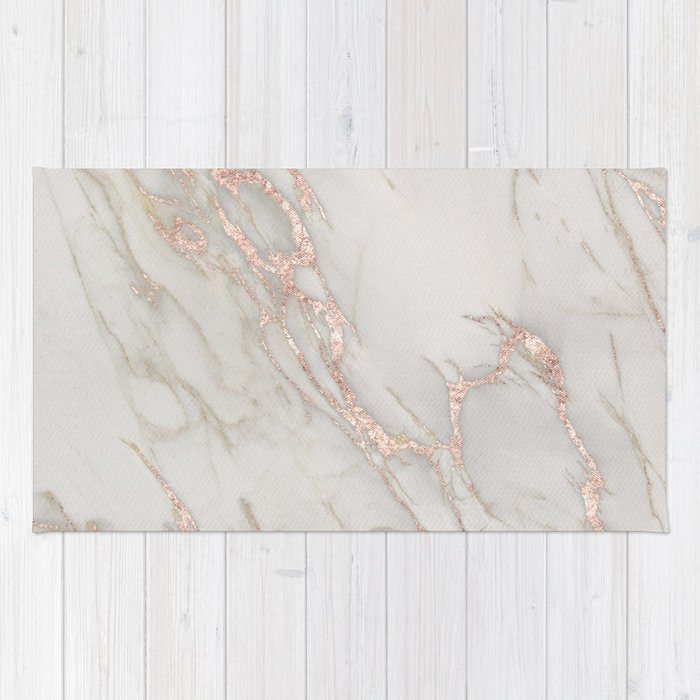Marble Rose Gold Blush Pink Metallic By Nature Magick Rug