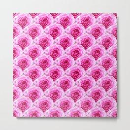 Tea Rose - Pink - Floral Pattern - Petal Elegance Art Deco Metal Print