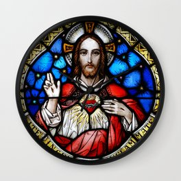 Sacred Heart in Stained Glass Wall Clock