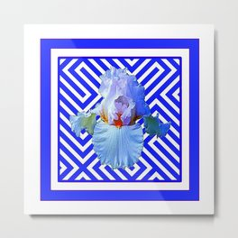 CONTEMPORARY BLUE & WHITE PATTERN IRIS PATTERN Metal Print