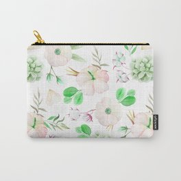 Modern blush pink white green watercolor floral pattern Carry-All Pouch