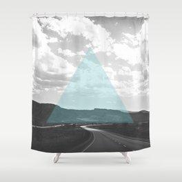 Geo Trip Cyan Shower Curtain