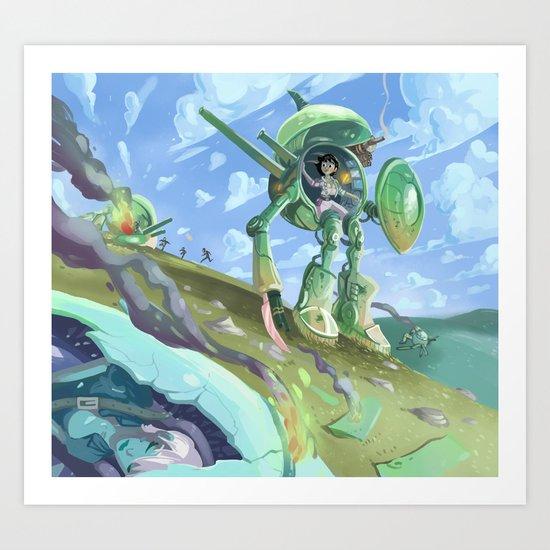 Robot + pin up Art Print