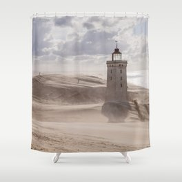 Sandstorm at the lighthouse Shower Curtain