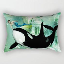 Orca with mermaid Rectangular Pillow