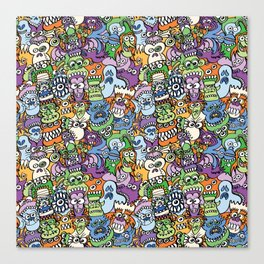 Halloween stars get crazy and hungry in a spooky pattern design Canvas Print