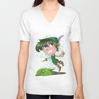 peter pan V-neck T-shirts featuring Peter Pan by EY Cartoons